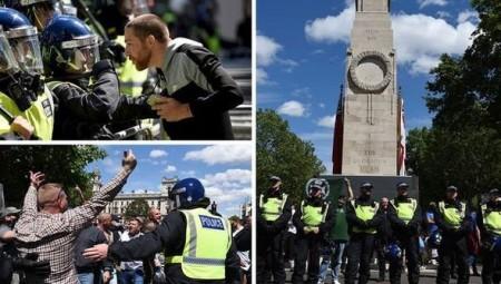 لندن.. صدامات خلال تظاهرة ليمينيين متطرفين مضادة لمسيرة منددة بالعنصرية