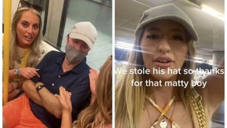 مات هانكوك يتعرض لهجوم من نساء ضاحكات حاولن التقاط الصور معه وسرقن قبعته