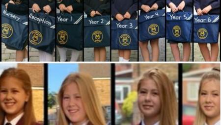 أم تلتقط الصورة ذاتها لابنتها مع بداية أول يوم دراسي لـ 10 سنوات متواصلة