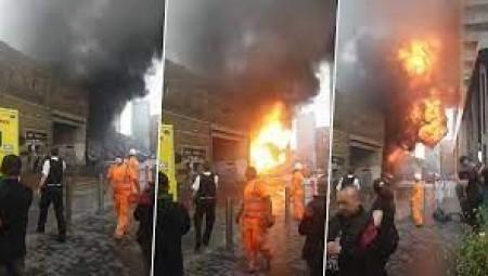 بالفيديو.. حريق كبير في لندن