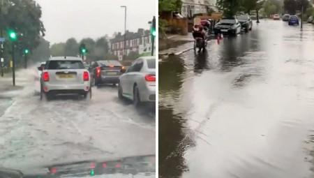بالفيديو .. الفيضانات تغمر شوارع لندن مع توالي العواصف
